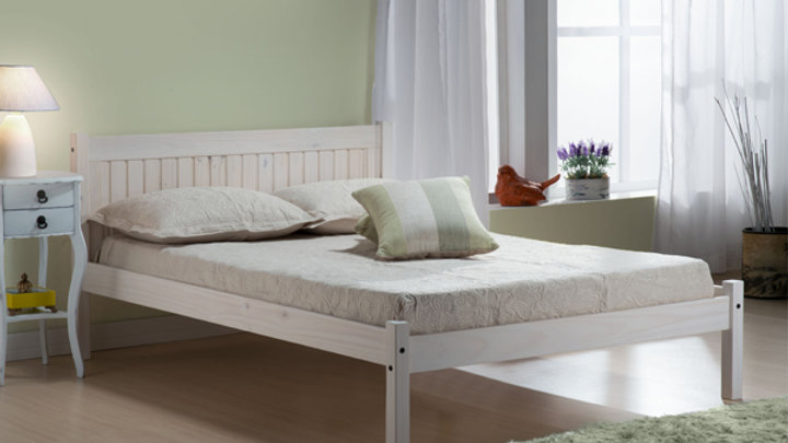 Solid Pine 4ft Small Double Wooden Bedframe in Pine or White Colour