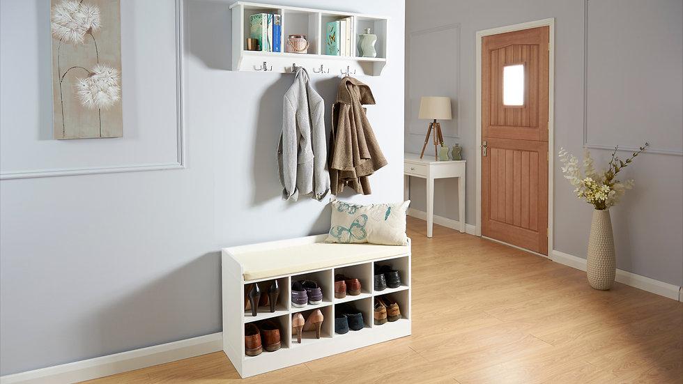 Modern Style Kempton Shoe Bench In White