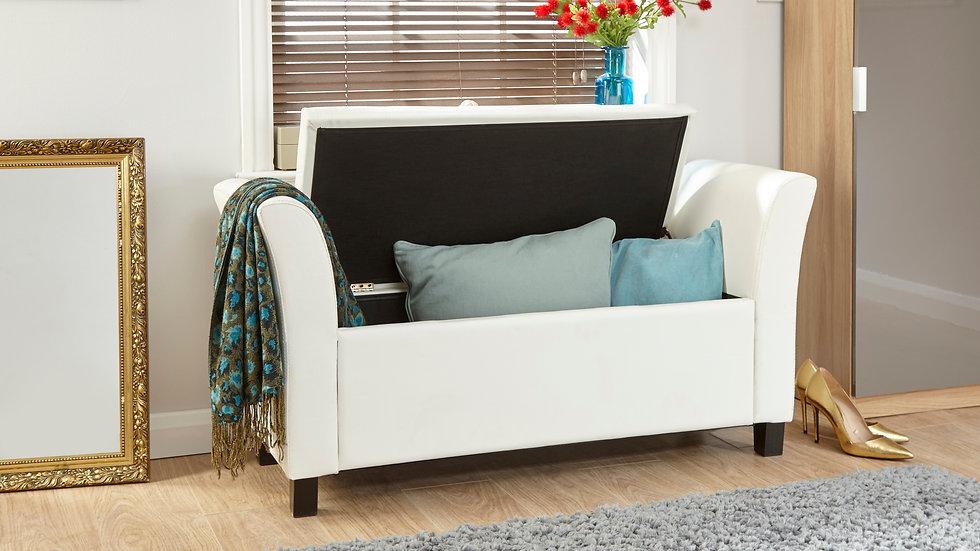 Buttoned Design White Faux Leather Window Seat Ottoman Storage Seat