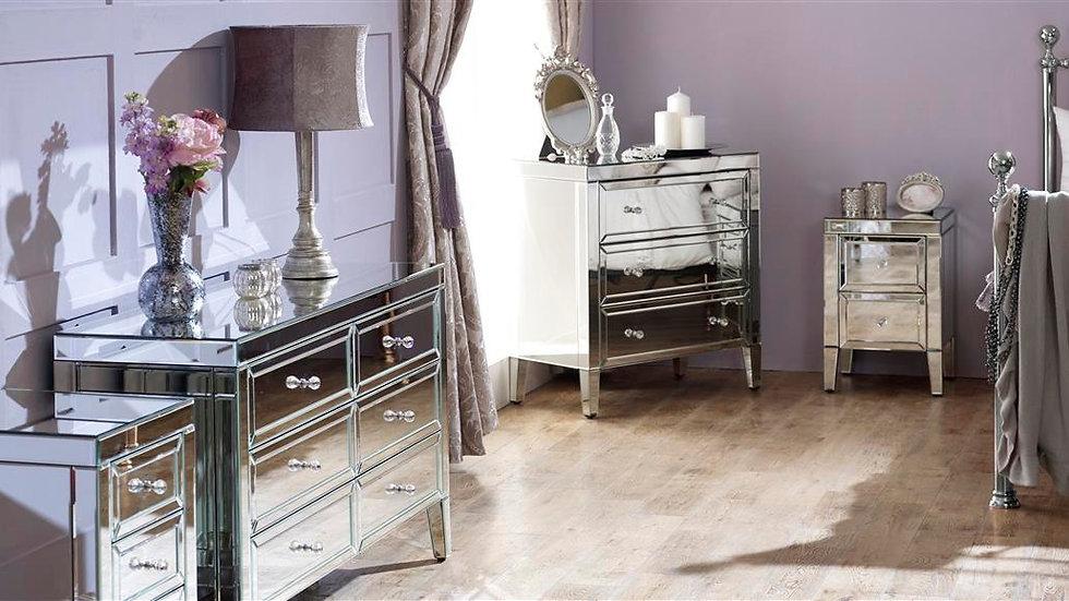 Glamorous Valencia Mirror Finished Bedroom Furniture Range