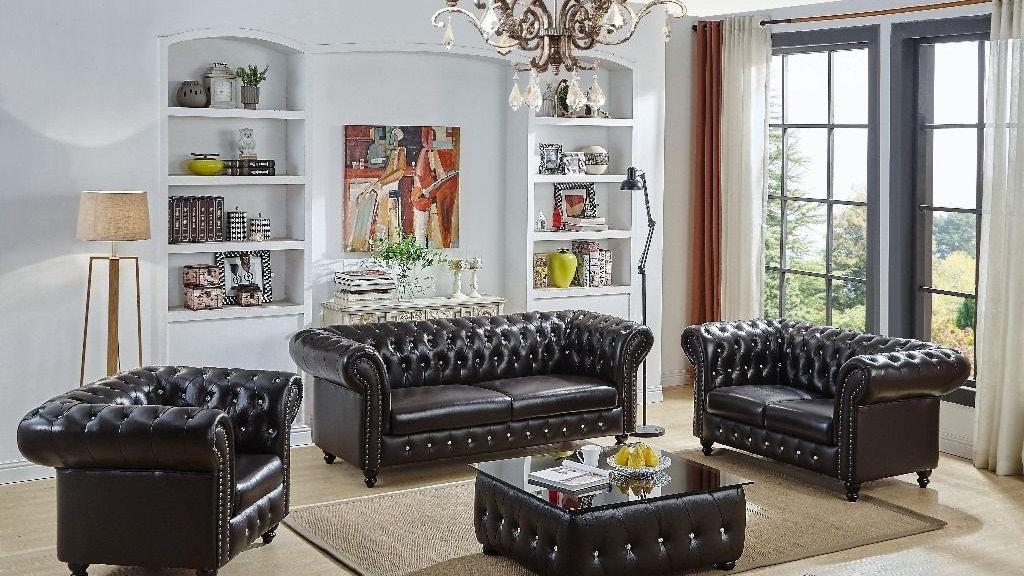 Sophisticated 3+2+1 Bonded Leather Sofa Set - Antique Brown/Oxblood Red |  ftafurnishing