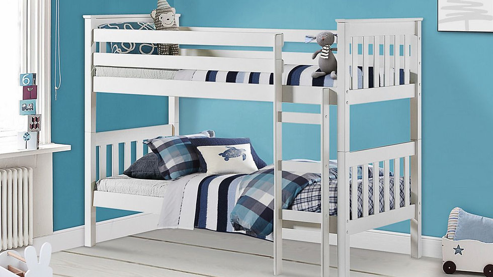 New Versatile Solid Portland Pine Separable Bunk Bed In White or Antique Pine