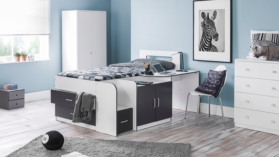 Charcoal and White Sleek Matt Finish Cabin Bed Includes Desk Drawers Cupboard