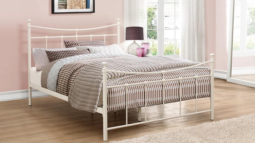 Elegant Curved Metal Bed 3ft, 4ft or 4ft6 Bed In Cream or Black