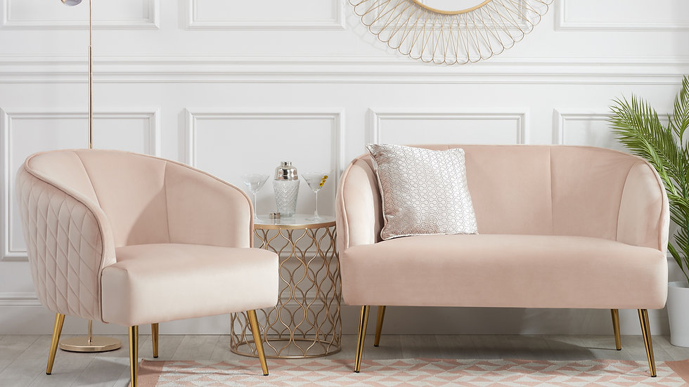 New Glamorous Blush Pink Velvet Armchair & 2 Seater Sofa