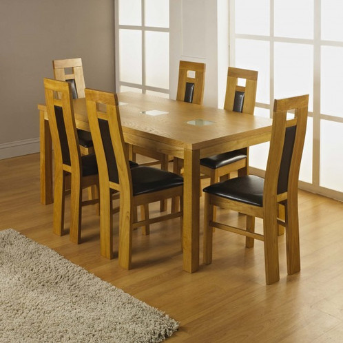 Oak Veneer Frosted Glass Dining Table 6 Chairs