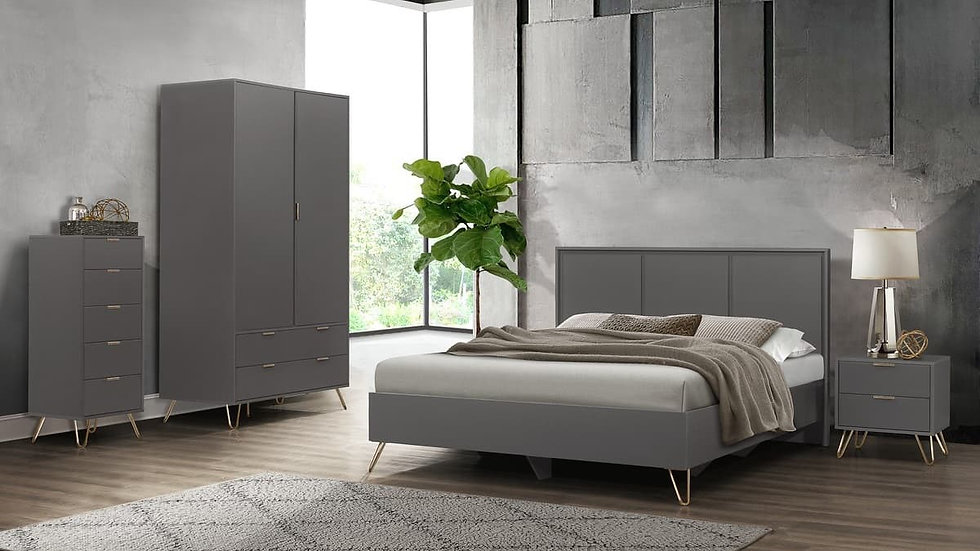Modern Industrial Feel Charcoal Bedroom Range Gold Accented Bed Bedsides Drawers