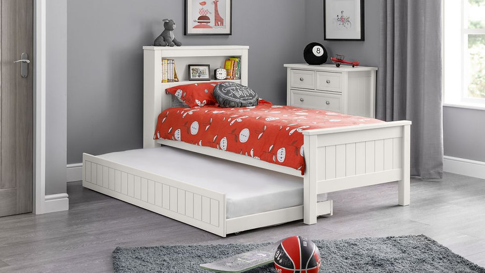 New Childrens Maine Bookcase Bed With Trundle Options Available in White & Grey