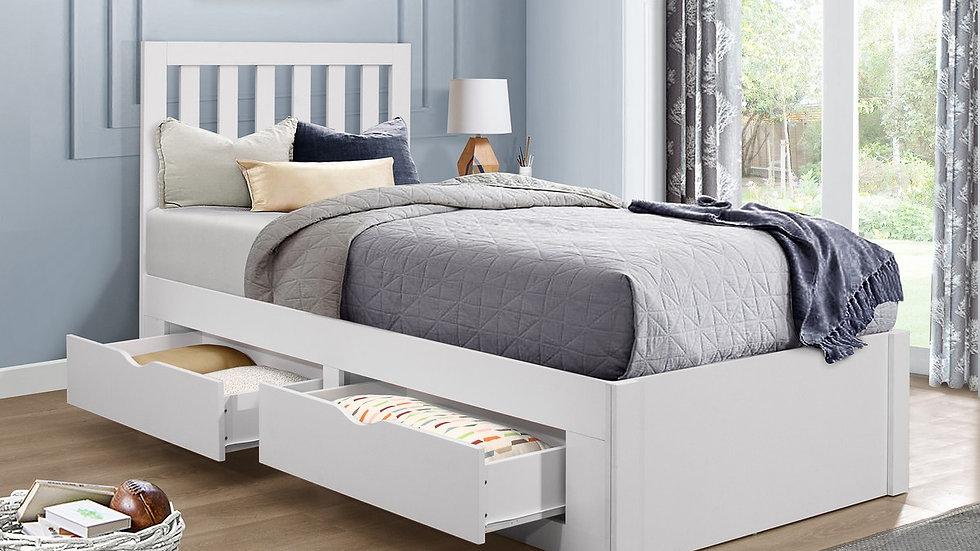 New Modern White Wooden Children's 3FT Single 4 Drawer Storage Bed