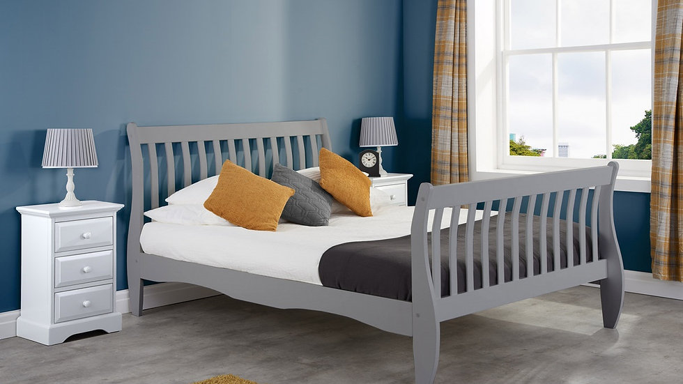 New Stylish Wooden Belford Grey Pine Bed frame