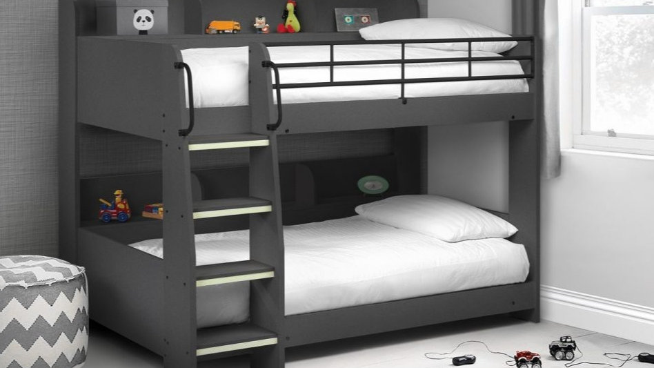 Children's Domino Bunk Bed With Luminous Glow In The Dark Ladder Steps