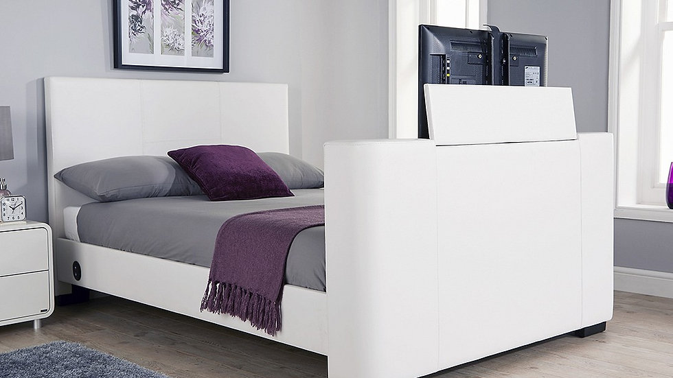 Modern Newark Faux Leather Electric TV Bedstead