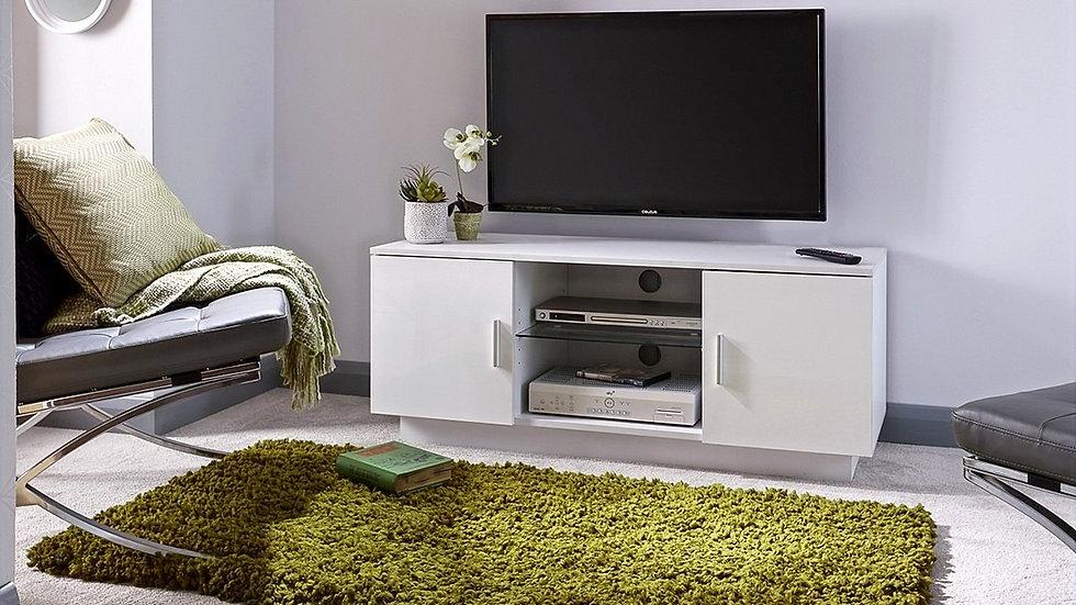 New Contemporary Lima White High Gloss 2 Door TV Unit