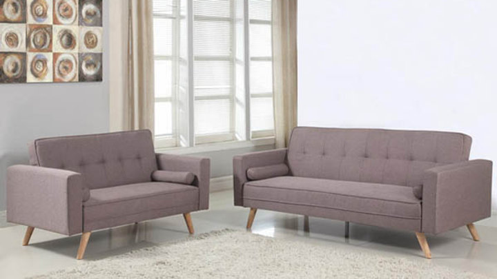 Contemporary Retro Feel Grey Fabric Buttoned Detail Sofa Beds Medium or Large