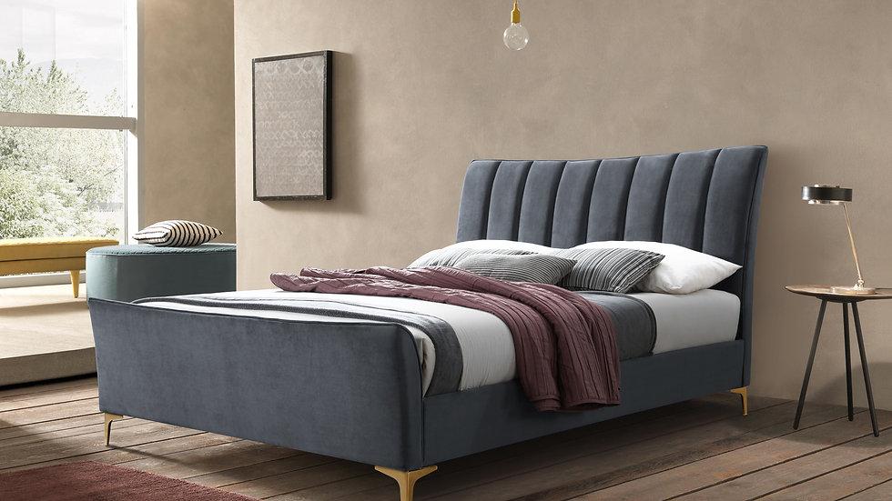 Stylish Shaped Design Bed 4ft 4ft6 5ft Grey Green Velvet Fabric