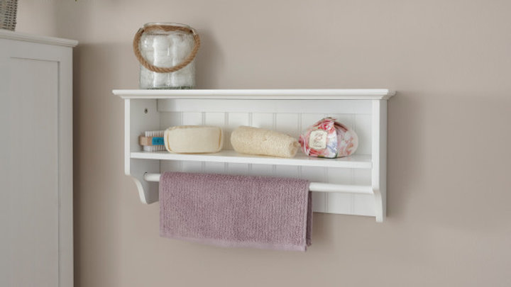 Simplistic Painted Towel Rail Shelf in White or Grey Colour