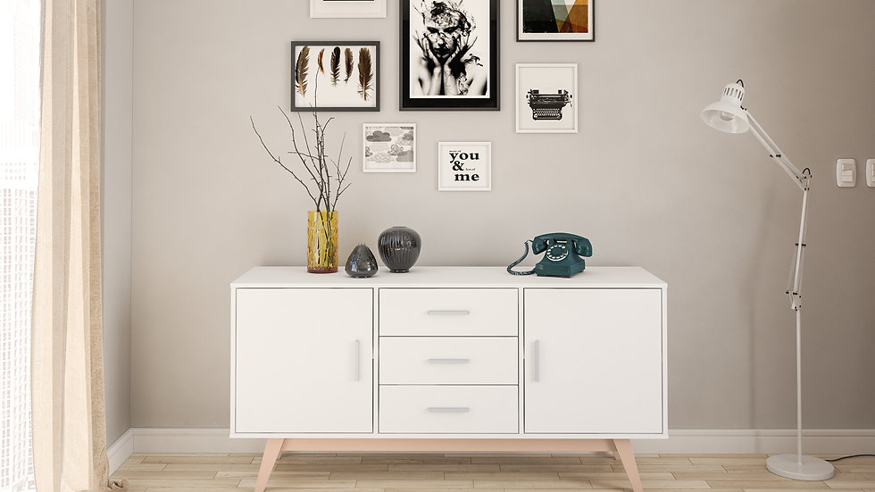 New Contemporary Shard White 2 Door 3 Drawer Sideboard