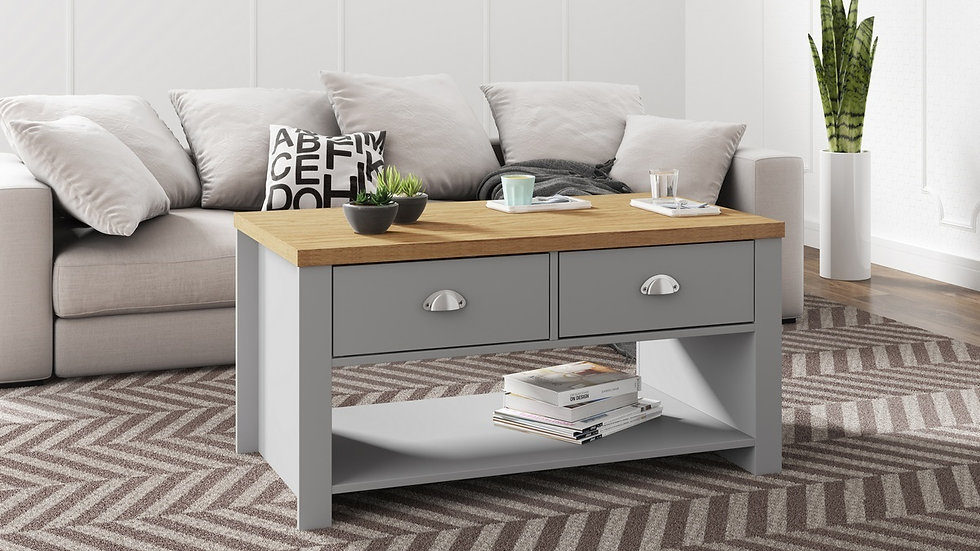 Modern Winchester Farmhouse Inspired Furniture Grey or Cream with Oak Finish
