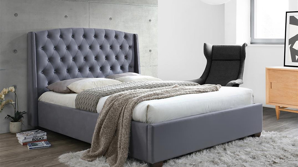 Luxurious Grey Velvet Double Bed With Wingback Headboard