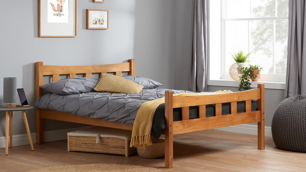 Elegant Antique Pine 3ft Single or 4ft6 Double Varnished Pine Slatted Bed Frame