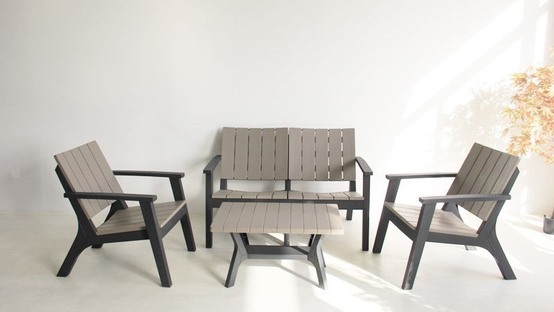 New 4 Seat Black & Grey Lounge Outdoor Garden Sofa Set