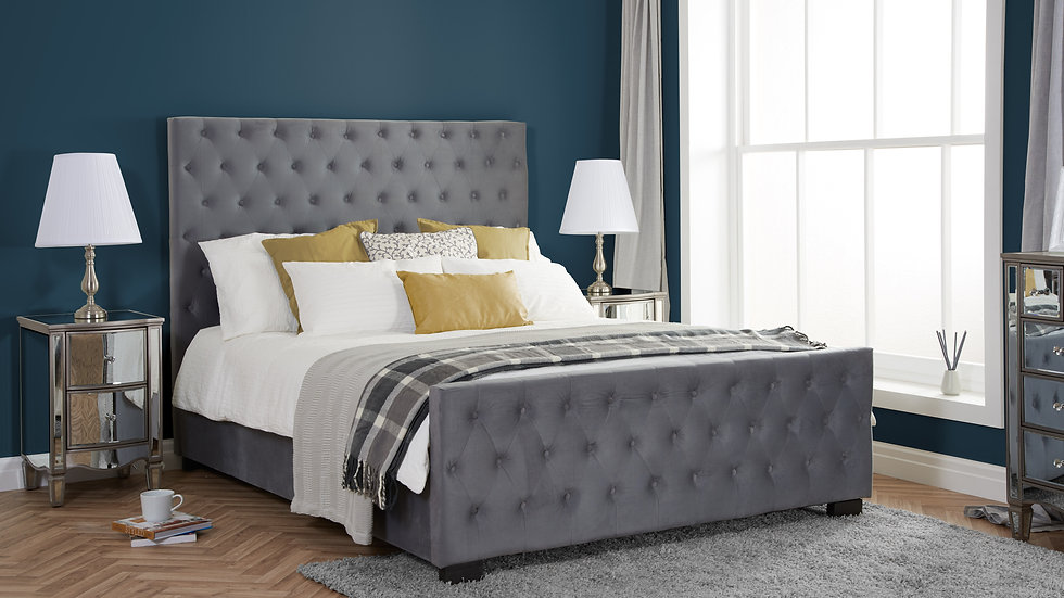 NEW Luxurious Grey Velvet Marquis Bedframe available in 6FT Super King