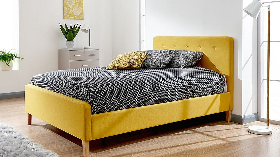Modern Retro Inspired Chic Grey, Light Grey or Mustard Bed Frame All Sizes
