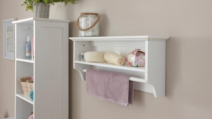 Modern Shaker Style Wooden White or Grey Towel Rail Shelf