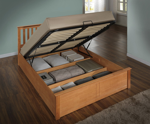Attractive Wooden Ottoman Storage Bed Solid Base