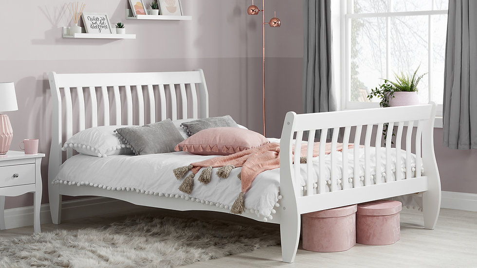 Stylish Solid Pine Wooden Bed Frame in White