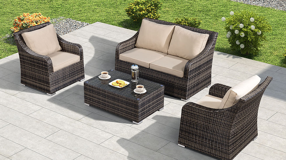 Luxury Two Seat Rattan Garden Sofa Set with Table in Choice of Brown or Grey