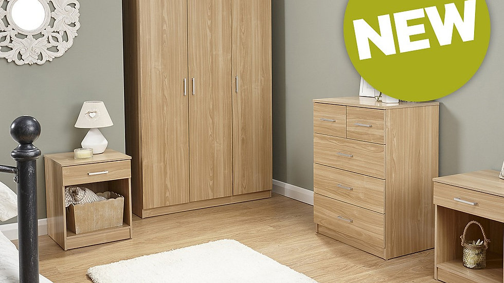 Contemporary 4 Piece Bedroom Set Wardrobe, Chest & 2x Lamp Tables Colour Options