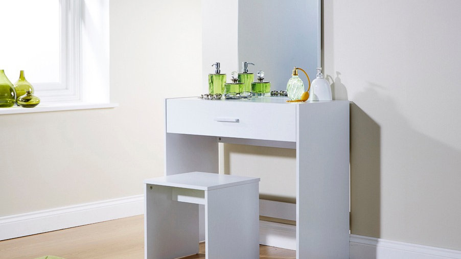 Modish Julia Wooden 1 Drawer Vanity Dressing Table & Stool 3 Colours available