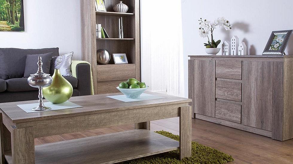 Unique Oak Effect Luxury 2 Drawer Bookcase Stylish Living Room Furniture