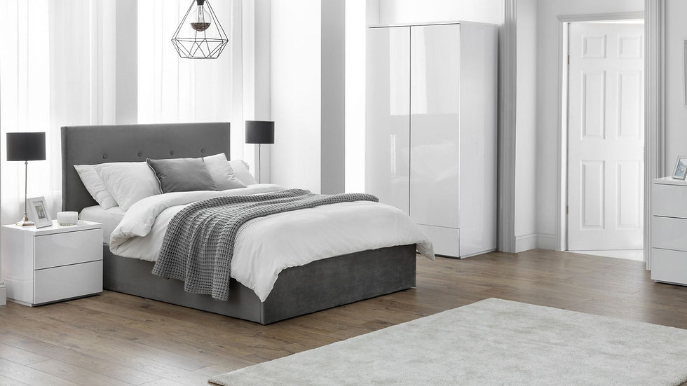 The New Sleek Modern Monaco Bedroom Collection Fresh White or Grey High Gloss