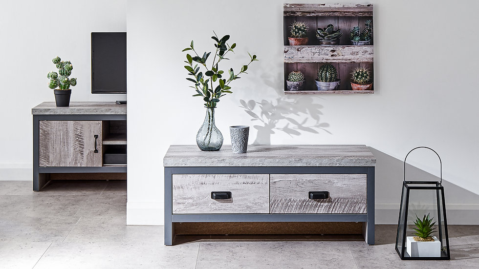 New Modern Urban Chic 2 Drawer Coffee Table In Grey