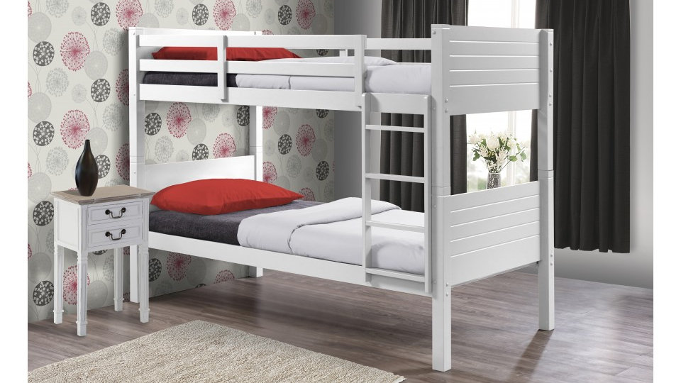 Fabulous Creative Space Saving Bunk Beds Attractive White Finish 3FT Single Bunk