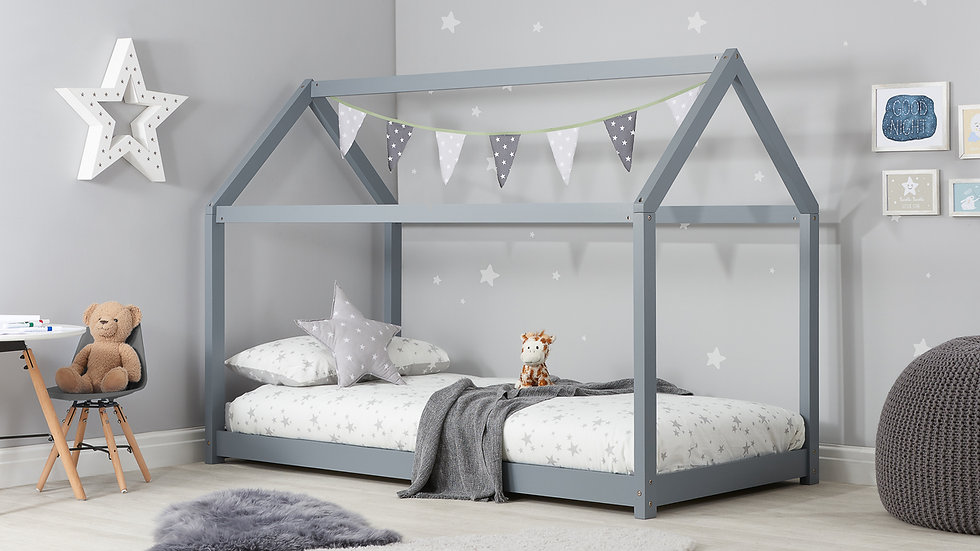 NEW Wooden Children's 3ft Single House Bed available in Grey, White or Pine