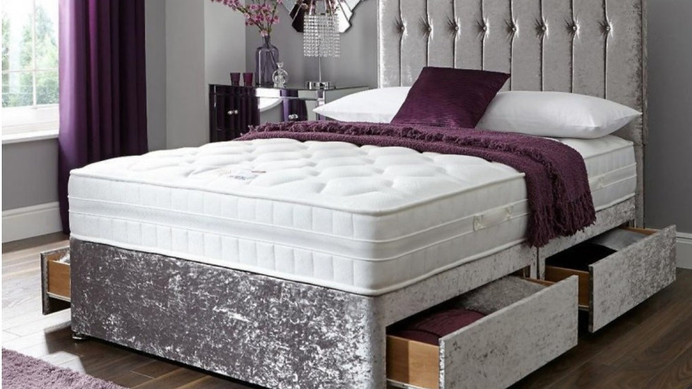 Crushed Velvet Divan Bed & Headboard With Storage & Mattress Options