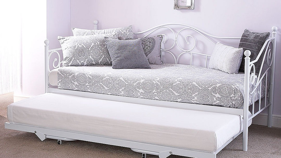 Elegant 3FT Single Metal Bed in White With Trundle Options!!