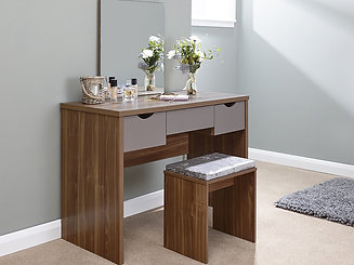 Modern Dressing Table Set Walnut With 3 Drawer Storage   Table, Mirror,  Stool