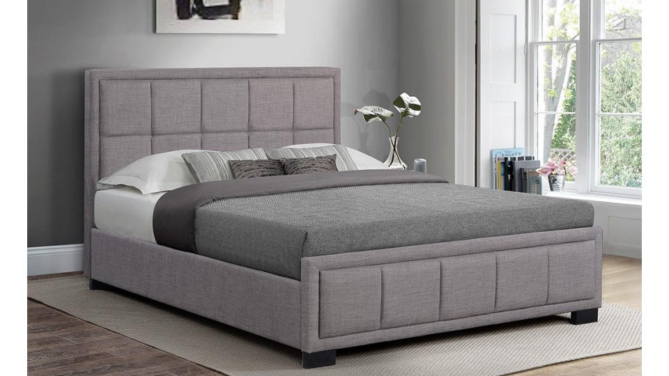 Hannover 4FT 4FT6 5FT Stunning Stylish Grey Fabric Bed With Cushioned Headboard