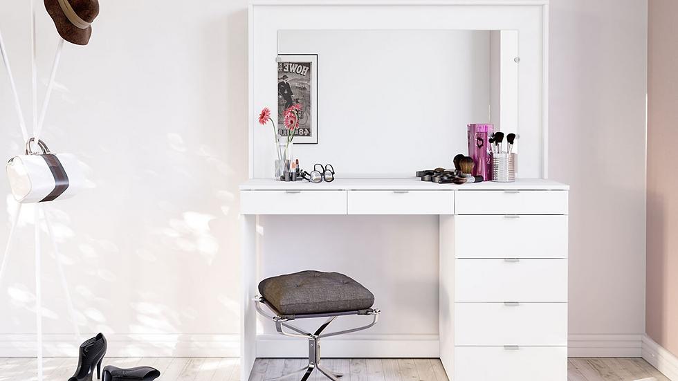 Chloe 7 Drawer White Dressing Table & Mirror