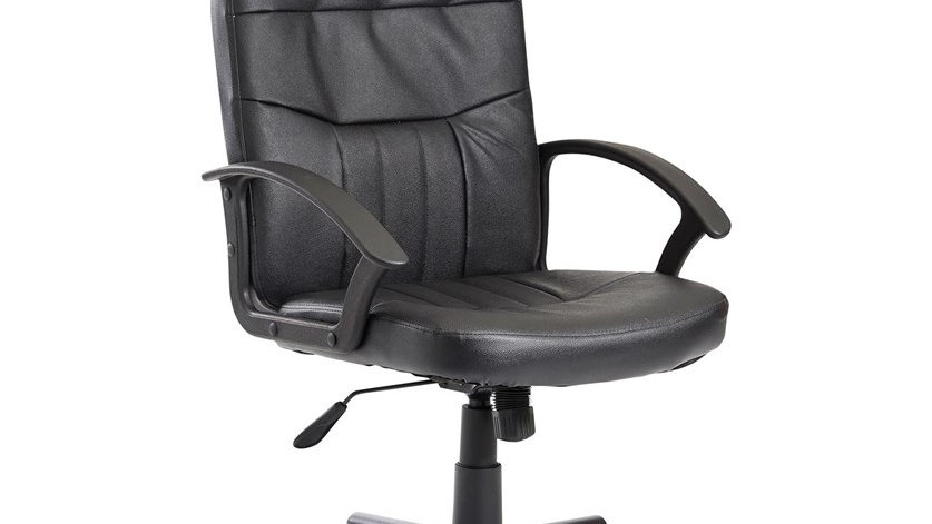 New Office Chair Black Faux Leather Tufted Plush Comfy Operator Task Seat