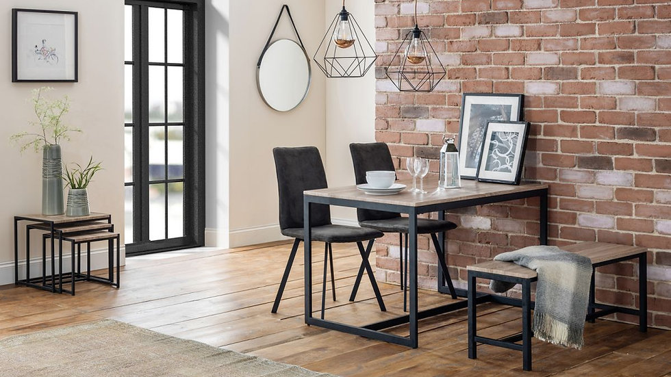 New Tribeca Industrial Wood and Metal Dining Table With Chair & Bench Options