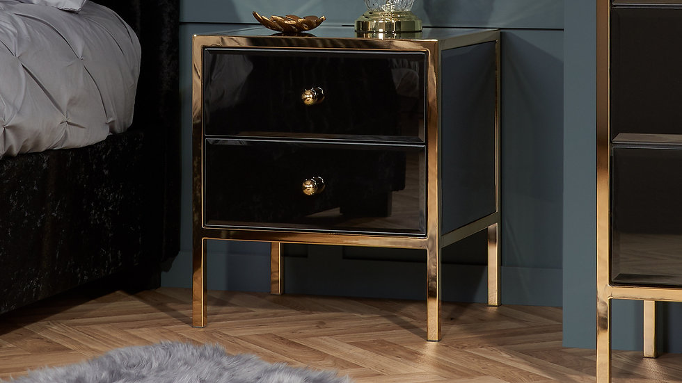 Glamorous Bevelled Glass Black and Gold Furniture Range