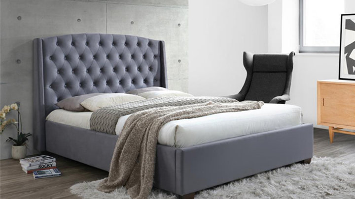 Luxurious Grey Velvet Bed With Wingback Headboard in 4FT6, 5FT and 6FT