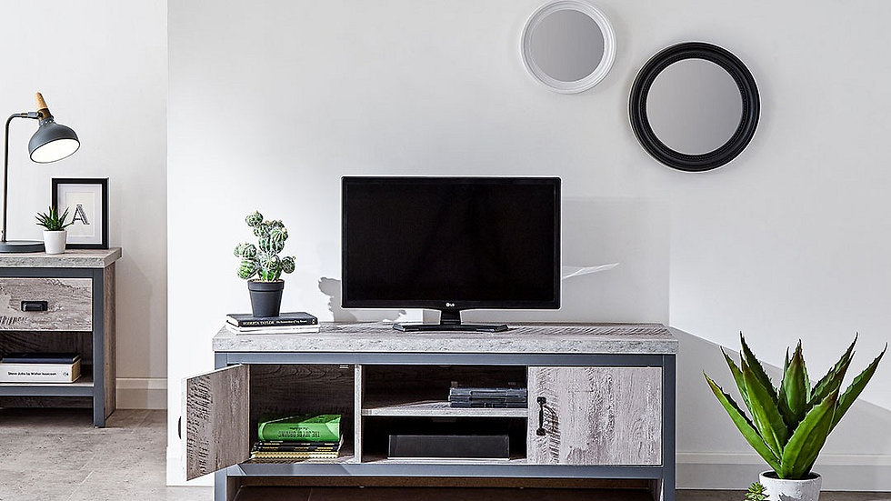 New Chic Boston 2 Door TV Unit Available In Grey