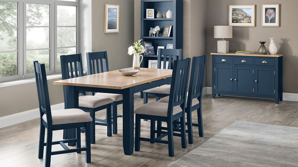 New Richmond Midnight Blue Wooden Extending Dining Set With Chair Options