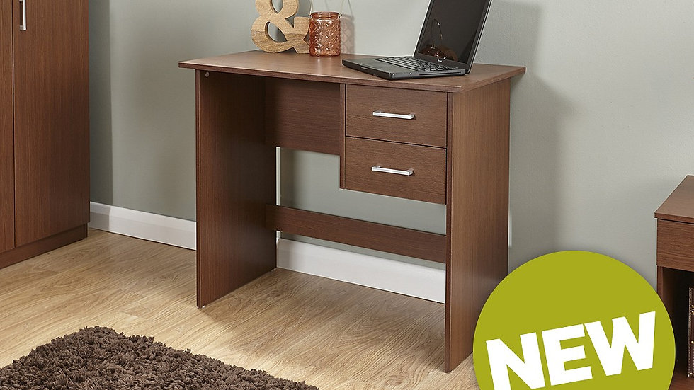 Panama Contemporary 2 Drawer Desk In Fashionable Walnut Finish